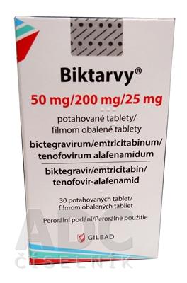 Biktarvy 50 mg/200 mg/25 mg filmom obalené tablety