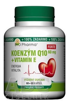 BIO Pharma Koenzým Q10 60mg+Vit.E Forte