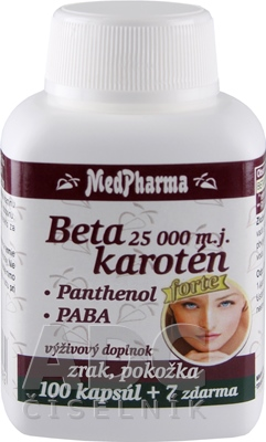 MedPharma BETAKAROTÉN 25.000 m.j.+Pantenol+PABA