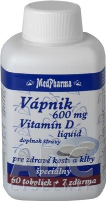 MedPharma VÁPNIK 600 mg + Vitamín D liq.